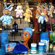 Puppe, Werbung, blau, lustig