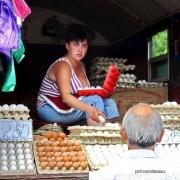 Frau, Markt, Straßenmarkt, Ei