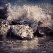 Wellen und Gischt